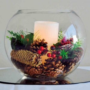 Fish Bowl Vase Hire Melbourne Christmas Theme with candle
