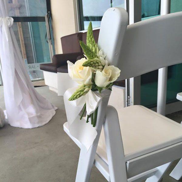 Wedding Hire Melbourne - Chair Decorations - Fresh Flower Bouquet