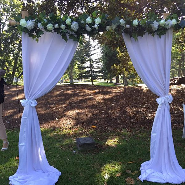 Wedding Hire Melbourne - Hire 2 Post Bamboo Arch with Ivy and White Flower Pelmet