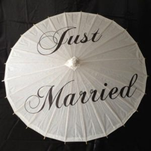 Wedding Hire Melbourne - Hire Character Parasol - Just Married