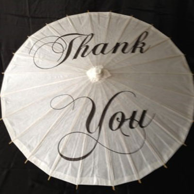 Wedding Hire Melbourne - Hire Character Parasol - Thank You
