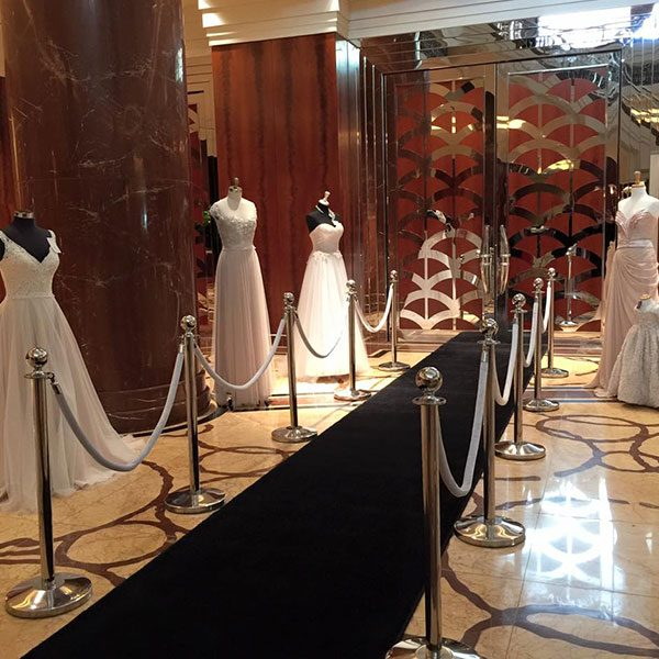 Wedding Hire Melbourne - Hire Silver Event Bollards with Rope