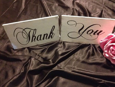 Wedding Hire Melbourne - Hire Thank You Sign