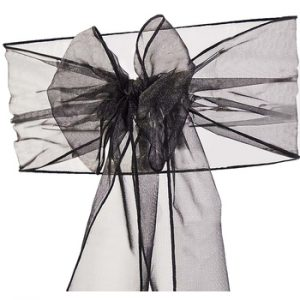 Black Organza Sash Chair Hire