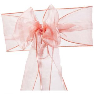 Coral Organza Chair Sash