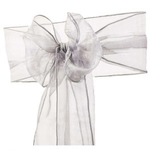 Silver Organza Chair Sash