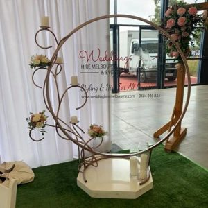 rose gold wedding signage stand