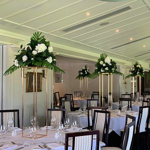 hire gold flower stands 1m tall