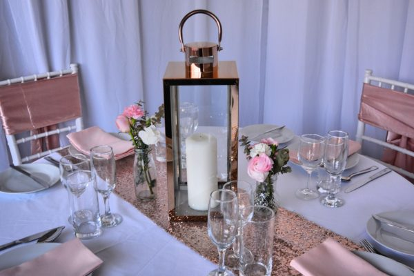 rose gold centerpieces for hire melbourne