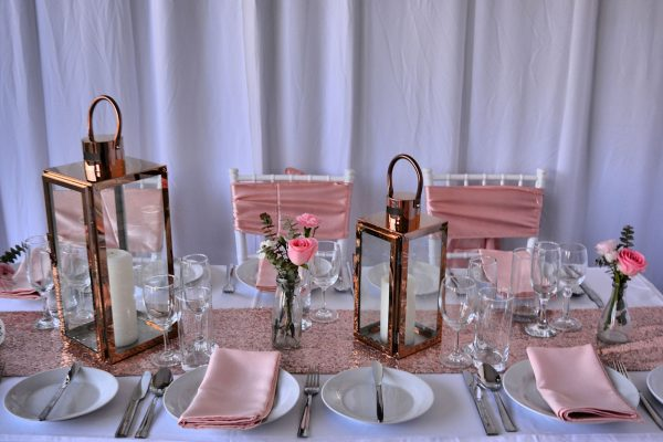 rose gold wedding decorations