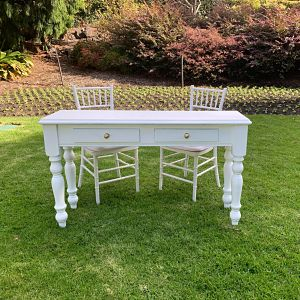 hire white wooden signing table melbourne