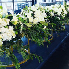hire gold plate flower stand centrepiece melbourne