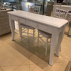 white wooden signing table with drawers hire